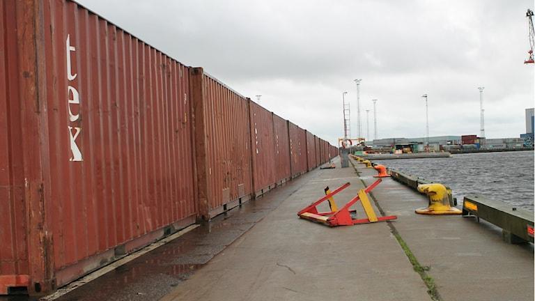 Den mobila vattenbrytaren i Halmstad hamn. Foto: Henrik Martinell / Sveriges Radio