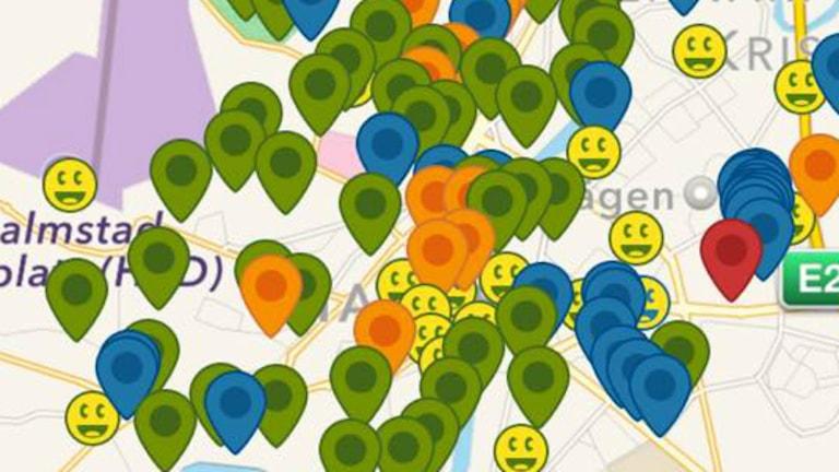 Geocaching är nya folksporten - här en karta över alla cachar som finns i centrala Halmstad.