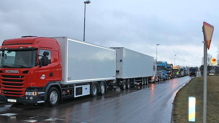 Tre kilometer lastbilar demonstrerar i Halmstad. foto: Henrik Martinell/P4 Halland