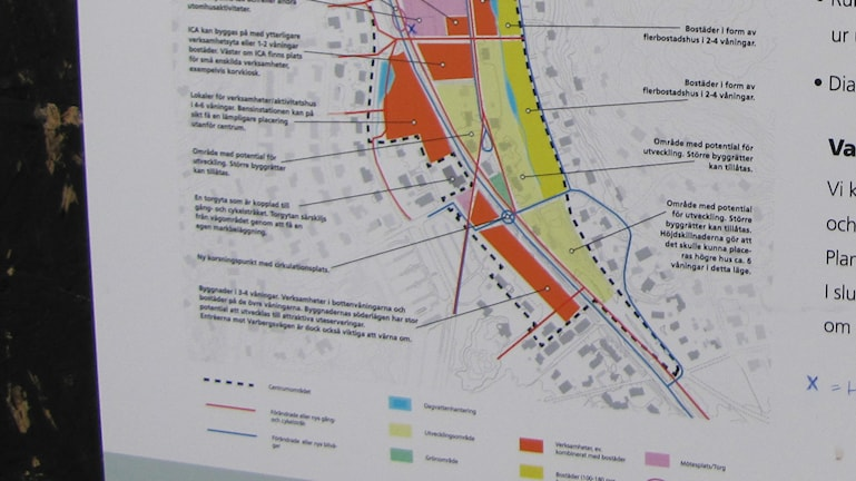 Del av förslaget till detaljplan över Åsa centrum. Foto: Henrik Martinell / Sveriges Radio