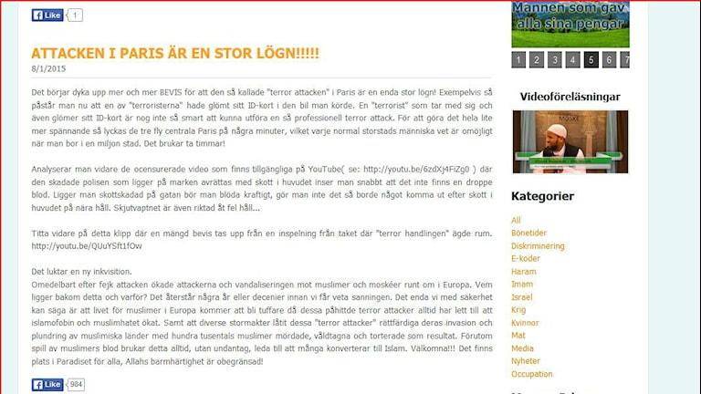 Printscreen från hemsidan. SR Halland.