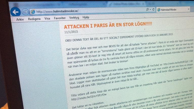 Texten som lades upp i förra veckan där Halmstad moské beskriver terrorattacken i Paris som en lögn. Foto: Sveriges Radio