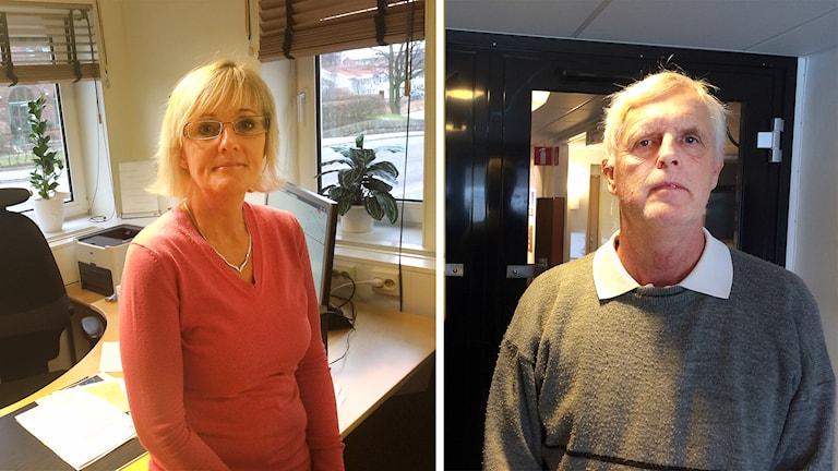 Elisabet Babic, kommunstyrelsens ordförande i Lahholm och Bo Wendt, kommunstyrelsens ordförande i Båstad. Foto: Mattias Bolin/Sveriges Radio.