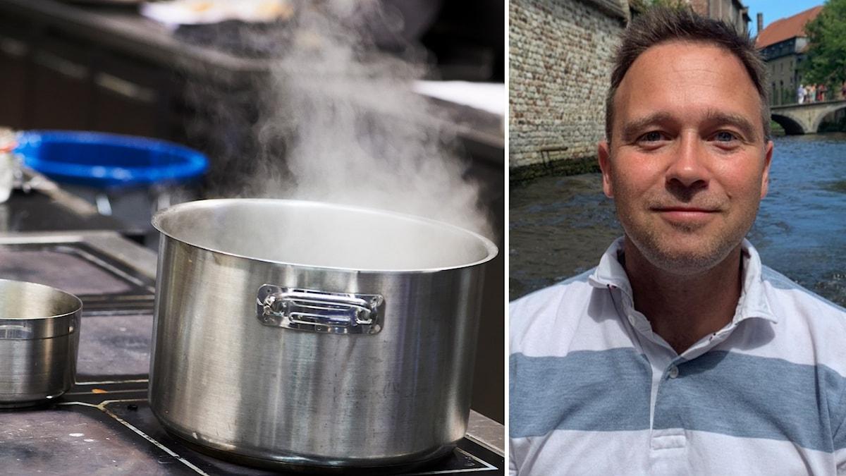 Till vänster: En kokande gryta. Till höger: Porträttbild på en man i utomhusmiljö. Han tittar in i kameran.