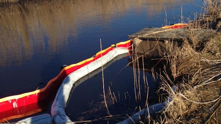 Diesel har läckt ut i Kungsbackaån. Foto: Kungsbacka kommun