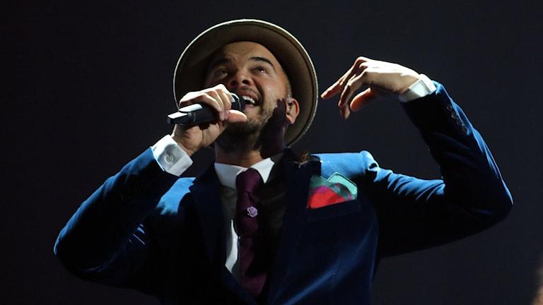 Guy Sebastian tävlar för Australien i Eurovision. Foto: Ronald Zak/TT