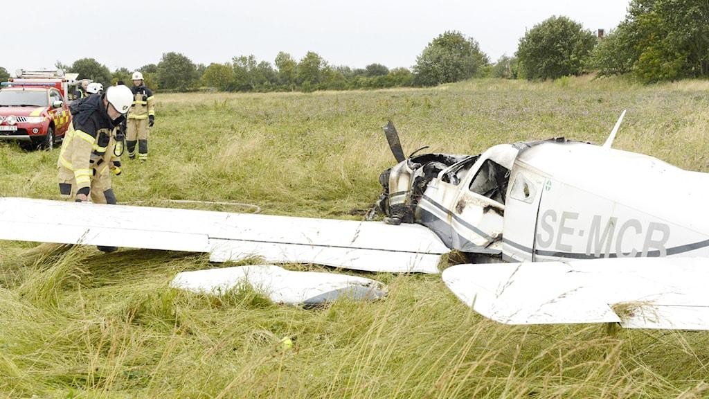 Flygplanet efter olyckan. Foto: Lennart Benson.
