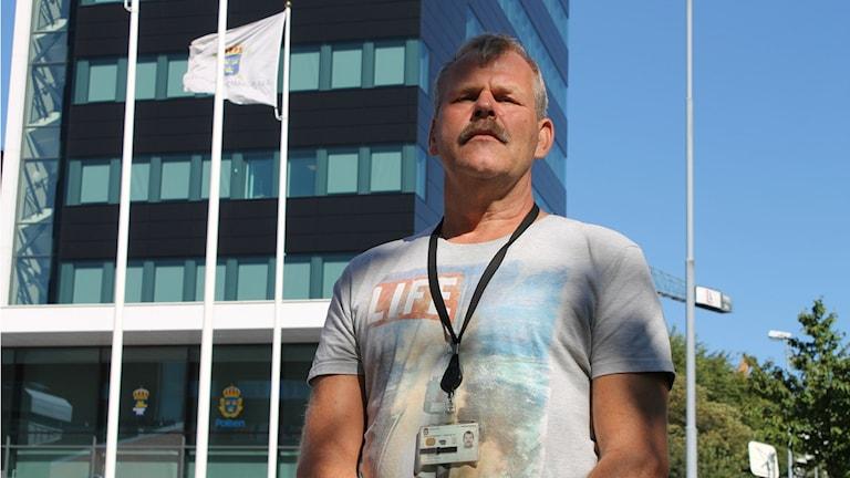 Hallandspolisens huvudskyddsombud Kjell Borgström. Foto: Henrik Martinell / Sveriges Radio