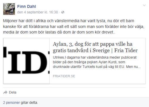 Sverigedemokraten Finn Dahl får kritik för uttalande på Facebook. Inlägget är nu borttaget. Foto: Skärmdump
