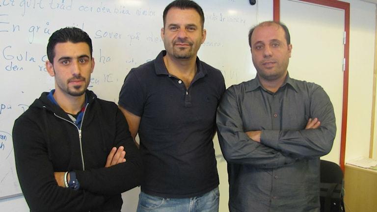 Ibrahim Alkhalil, Eyad Ebraheem och Hisham Almohamad Albarghash vill lära sig svenska för att kunna jobba och studera vidare.