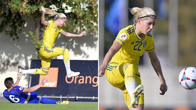Olivia Schough gjorde mål efter 15 sekunder i EM-kvalmatchen i fotboll mot Moldavien i Orhei, Moldavien. Foto: Foto: Stefan Constantin/TT.