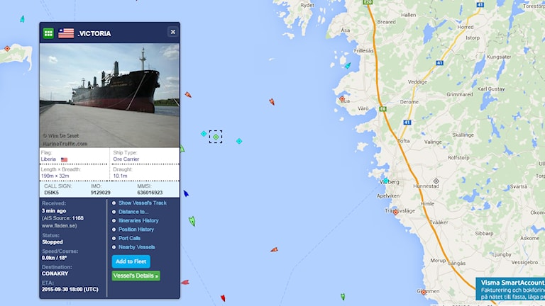 Bulkfartyget Victoria. Foto: Skärmdump från www.marinetraffic.com