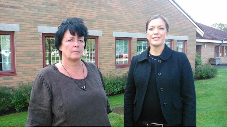 Rektor Anne Eriksoo och gymnasiechef Mari Sandell Molander. Foto: Elin Logara/Sveriges Radio.