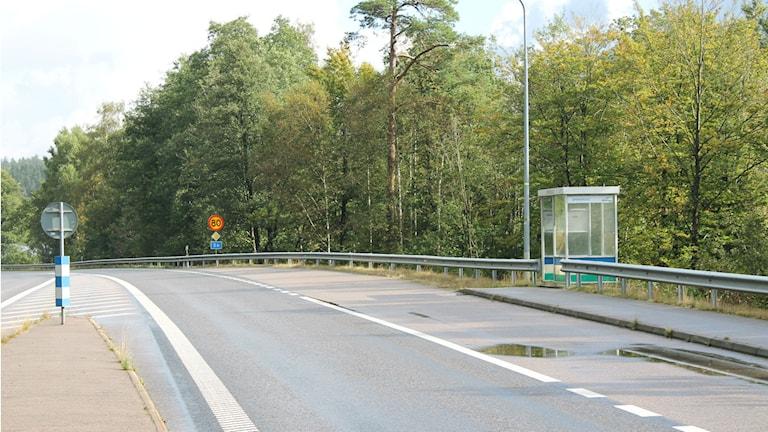 Busshållplatsen vid Spenshult. Foto: Henrik Martinell/Sveriges Radio.