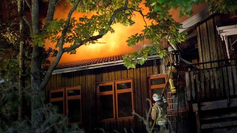 Skola som brinner två brandmänpå en stege