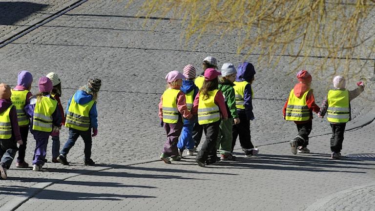 Förskolebarn med reflexvästar ute på promenad. Foto: Hasse Holmberg/TT.
