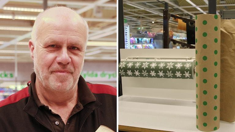 Dan Arvidsson på ena bilden, bredvid honom är ett prickigt presentpapper och ett grönt papper med julstjärnor.
