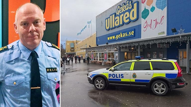 Mats Palmgren berättar i P4 Halland om polisens arbete. Foto: Sveriges Radio.