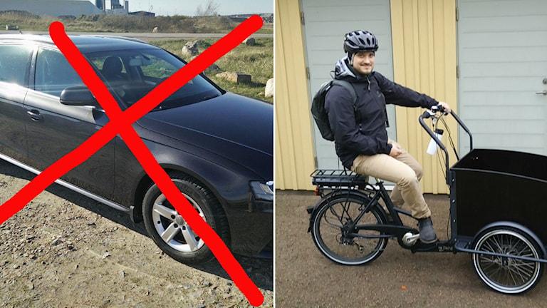 Familjen Lundström Nilsson ersatte bilen med lådcykel. Försöket ska pågå i minst ett år. Foto: Privat