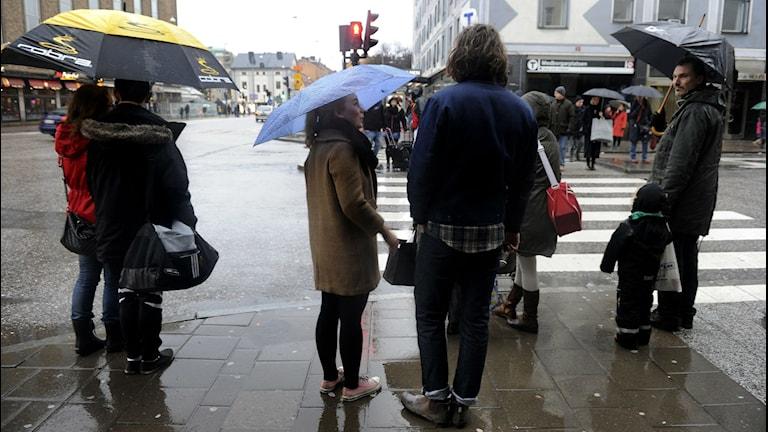 Julhandel i regn. Foto: Jessica Gow/TT.