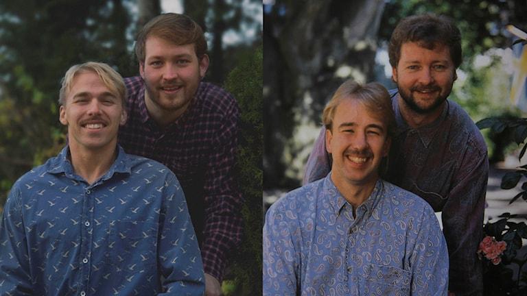 Carl-Oscar Andersson och Jonathan Larsson samt Stefan Gerhardsson och Krister Classon. Foto: Henrik Wallenäs  och Salong Du Mats