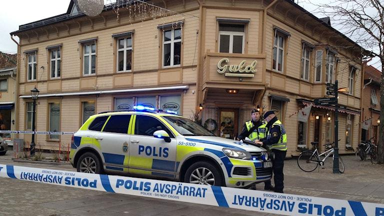 Guldsmedsbutiken rånades under förmiddagen på måndagen. Foto: Sveriges Radio