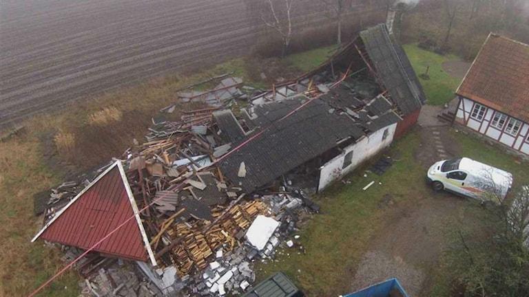 Stormen Gorm orsakade stora skador i södra Sverige. Foto: Airvision i Båstad/Länsförsäkringar Halland
