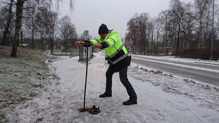 Vattenläckan i Hyltebruk påverkar stora delar av samhället. Foto: Henrik Martinell/Sveriges Radio.