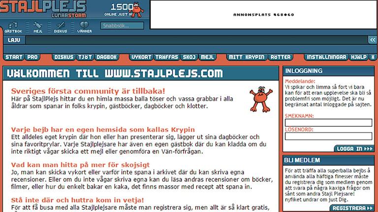 Stajlplejs har nyss startat upp som en hyllning till communityn Lunarstorm. Foto: Skärmdump.