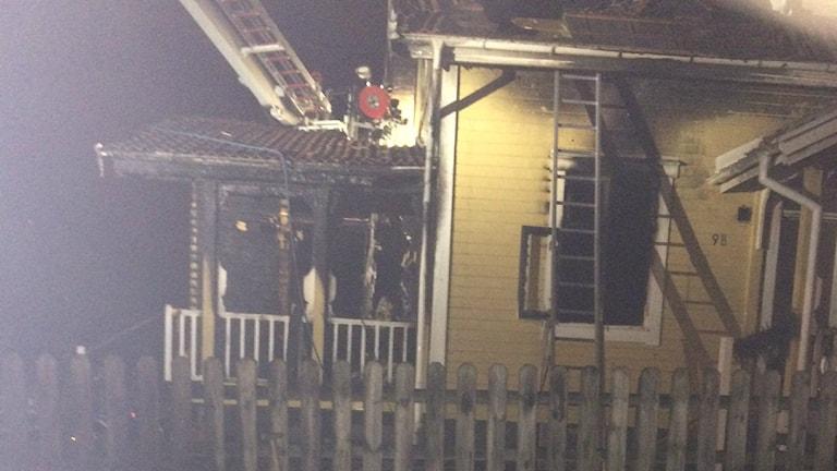 Huset totalförstördes i branden på Sulfitvägen i Oskarström. Foto: