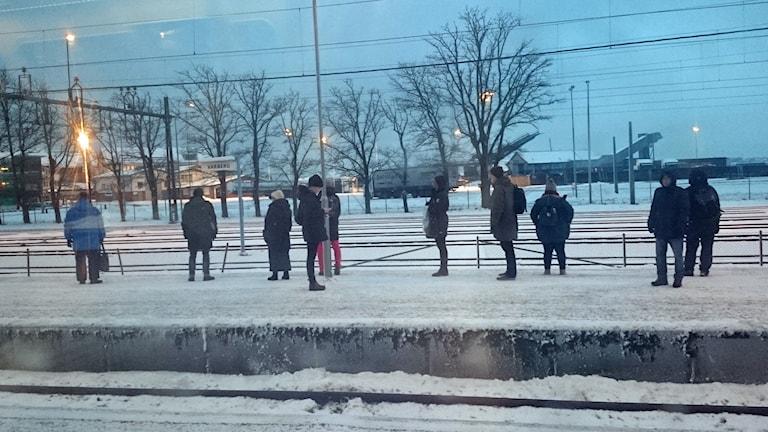 I väntan på tåg. Foto: Sveriges Radio.