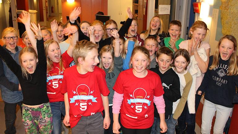 Ankarskolan vann andra kvartsfinalen av Vi i femman. Foto: Sveriges Radio.