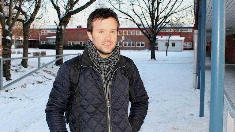 Ola Fischers son Hugo går numera i förskola på Slottsjordsskolan i Halmstad. Foto: Elin Logara/SR
