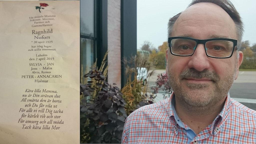 Dödsannonsen för Peter Nofors mamma kostade 5000 kronor styck i Hallandsposten och Laholms tidning. Foto Jonna Burén / Sveriges Radio