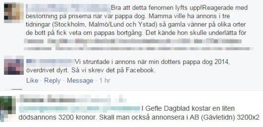 Många har reagerat efter P4 Hallands granskning av dödsannonser jämfört med andra annonser i de hallänska tidningarna. Foto: Skärmdump.
