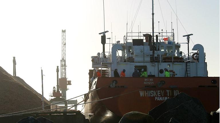 Det panamanflaggade lastfartyget Whiskey Trio. Foto: Henrik Martinell / Sveriges Radio