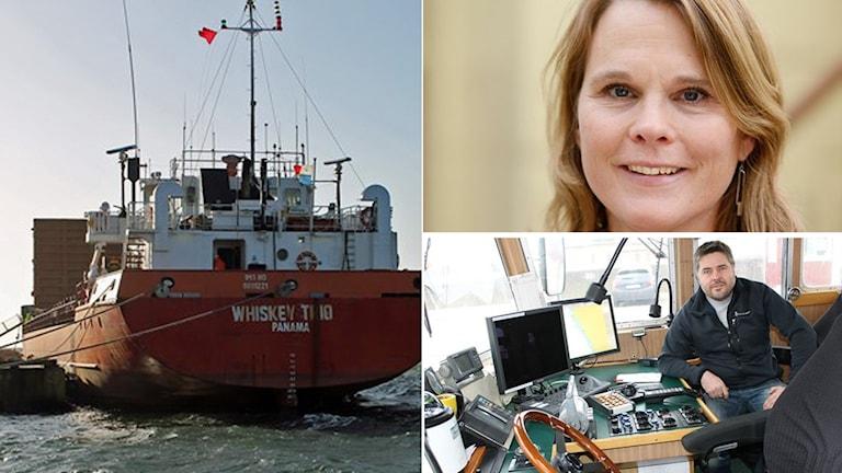 Pia Berglund, vd på Svensk Sjöfart, vill att köparna ska kunna välja bort fartyg med usla villkor. Någonting som har fartygslotsen Joacim Bergstedt upplever har ökat. Foto: Sveriges Radio/Pressbild.