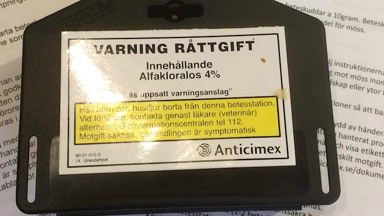 Råttgift med den verksamma substansen alfakloralos.