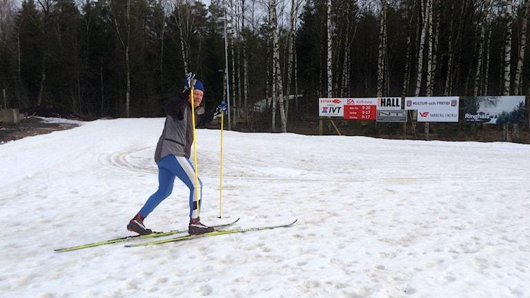 Lars Gadde från Båstad hoppas få ihop 4-5 mil under förmiddagen i Åkullaspåren.