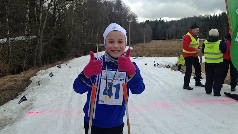 Axel Forsberg var en av 150 som åkte Barnens Vasalopp i Åkulla
