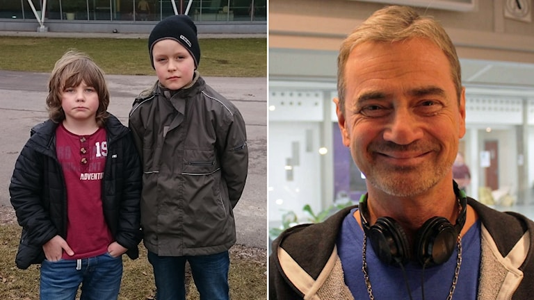 Simon Bengtsson, här tillsammans med kompisen Albert (som alltså inte var med och skickade in brevet) till höger om sig, sågar Christer Björkman och bristen på riktiga schlager. Foto: Sveriges Radio.