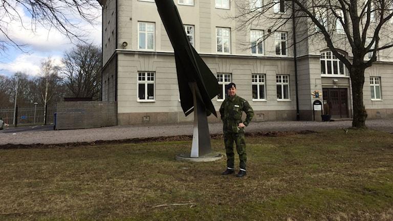 Sofia Westermark är major och kompanichef på luftvärnsregementet i Halmstad. Foto: Jennifer Erlandsson/SR Halland