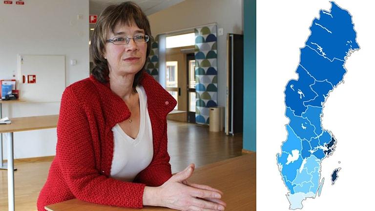 Lise-Lotte Bensköld Olsson (S) tycker att hallänningarna ska kunna få folkomrösta om en storregion. Foto: Sveriges Radio. Grafik: Ekot.
