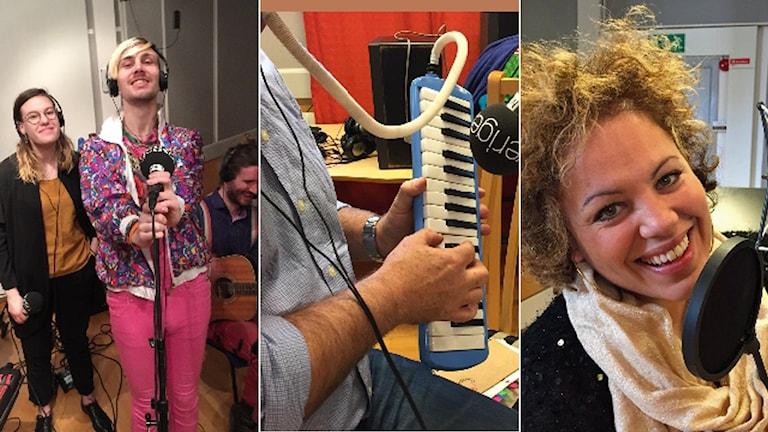 Halländska artister på P4 Hallands musikdag. Foto: Sveriges Radio.