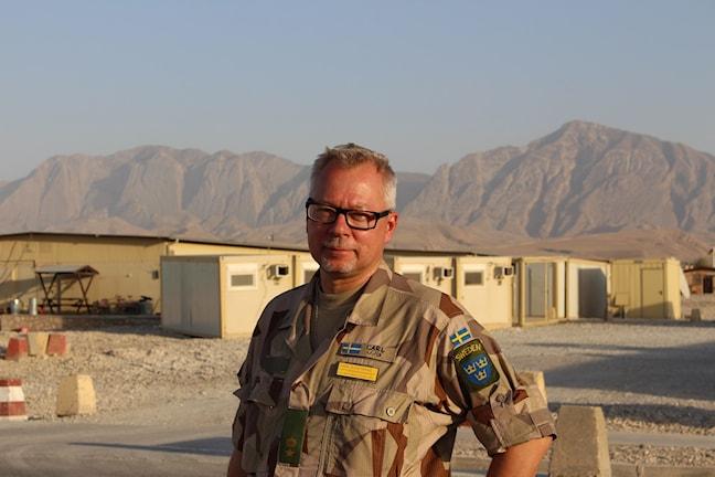 Carl Sjöstrand på Camp Marmal i Mazar-e Sharif. Foto: Anna Nyberg/Sveriges Radio