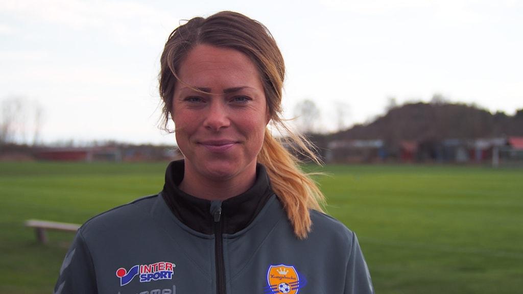 Johanna Almgren, tränare i Kungsbacka DFF. Foto: Patric Ljunggren/Sveriges Radio