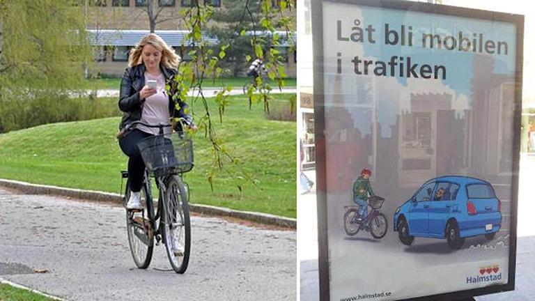 I en kampanj vill Halmstads kommun att trafikanterna ska lägga undan mobiltelefonen.