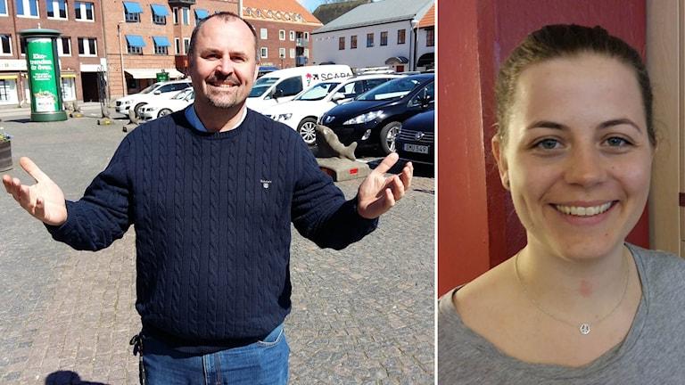 Lars Püss (M) och Sandra Granfeldt i Hallandia ser visserligen glada ut på bilden, men säger här i inslaget att de är besvikna över beskedet om bowlinghall.