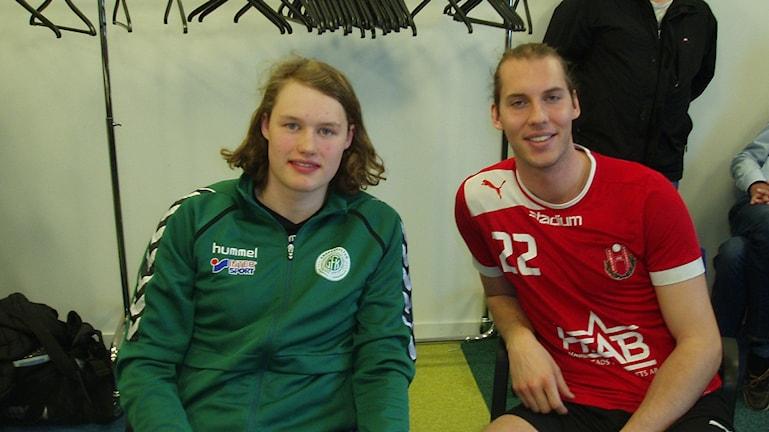 HK Drotts nyförvärv Axel Franzén och Filip Berentsen. Foto:Ingemar Johansson/Sveriges Radio
