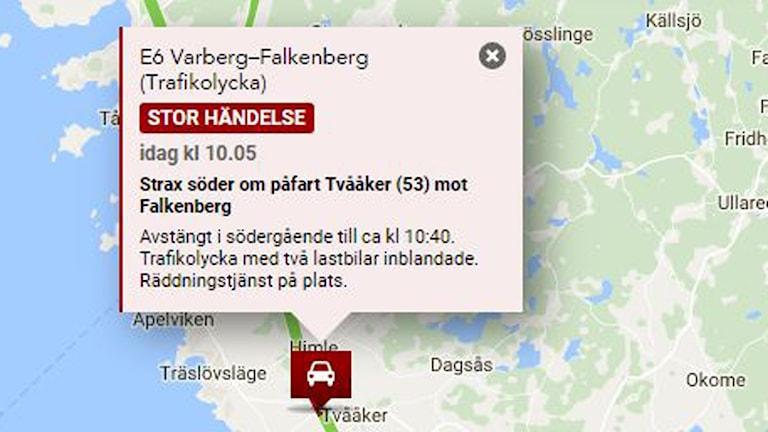 bild från trafikredaktionen, karta på var trafikolyckan vid Varberg inträffade.